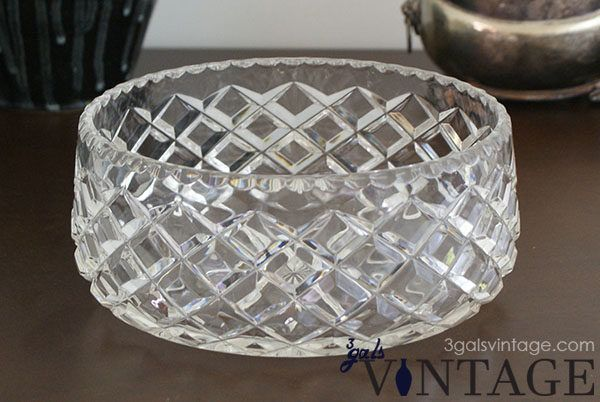 Vintage Royal Brierley Lead Crystal Serving Bowl, Diamond Pattern, Scalloped Rim - Front View. $65.00