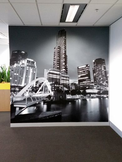 Vantage Property Investments in Melbourne, recently installed a black and white wall mural of the Melbourne skyline in their offices - the install turned out fantastic! What do you think?