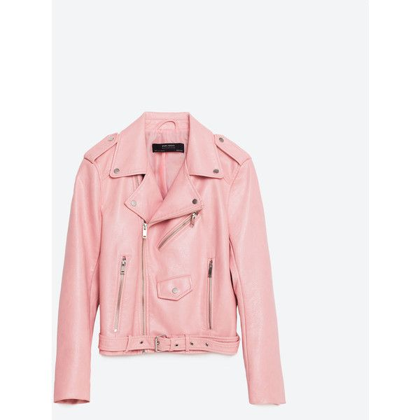 JAKKE I IMITERET SKIND ($69) ❤ liked on Polyvore featuring jackets, zara, imitation leather jacket, pink jacket, vegan leather jacket, synthetic leather jacket and faux leather jacket