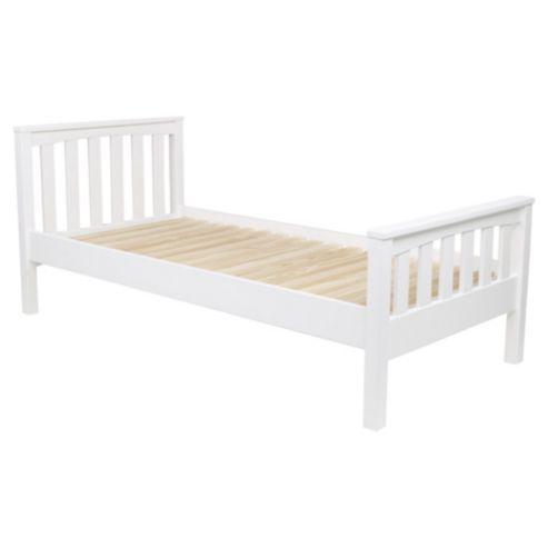 Harvey Single Wooden Bed Frame, White