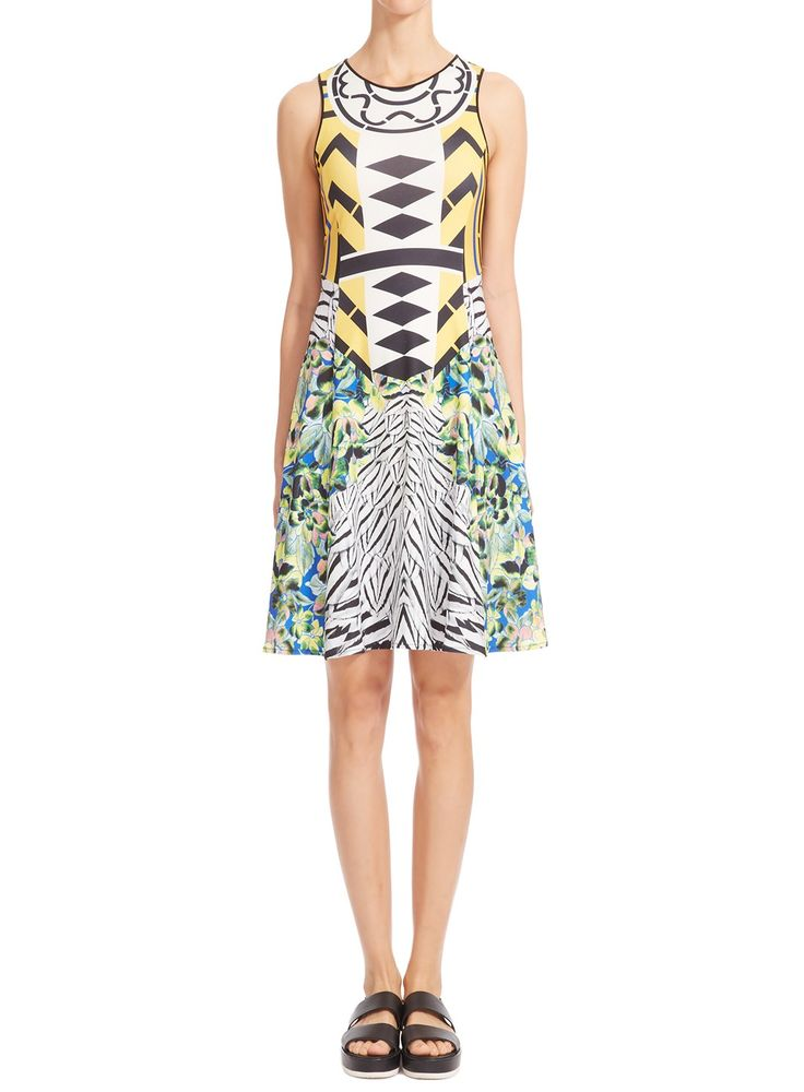Toucan Yellow Flared Dress by Clover Canyon