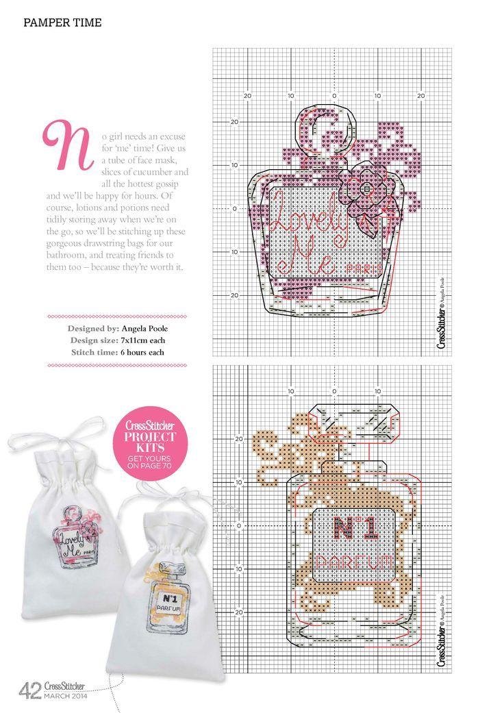 point de croix bouteilles de parfum - cross stitch bottles of perfumes