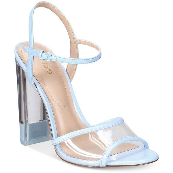 Aldo Women's Camylla Two-Piece Lucite Block-Heel Sandals ($90) ❤ liked on Polyvore featuring shoes, sandals, blue, heeled sandals, strap sandals, chunky heel sandals, blue block heel sandals and blue shoes