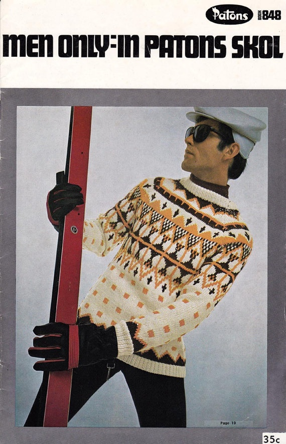 $8.00 Vintage 1960s Mens knitting pattern booklet