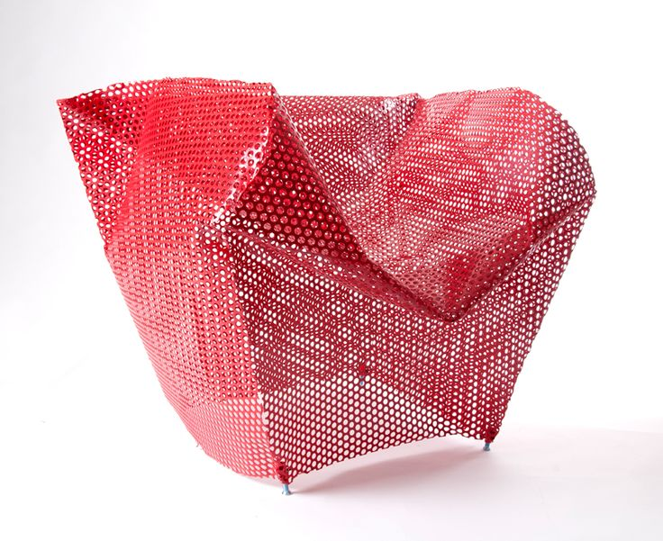 Ezri Tarazi, Free Falling Chair: folded perforated metal with steel rod substructure.