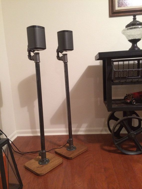 Industrial Pipe Surround Sound Speaker Stand Pair by AlpineWoodCo