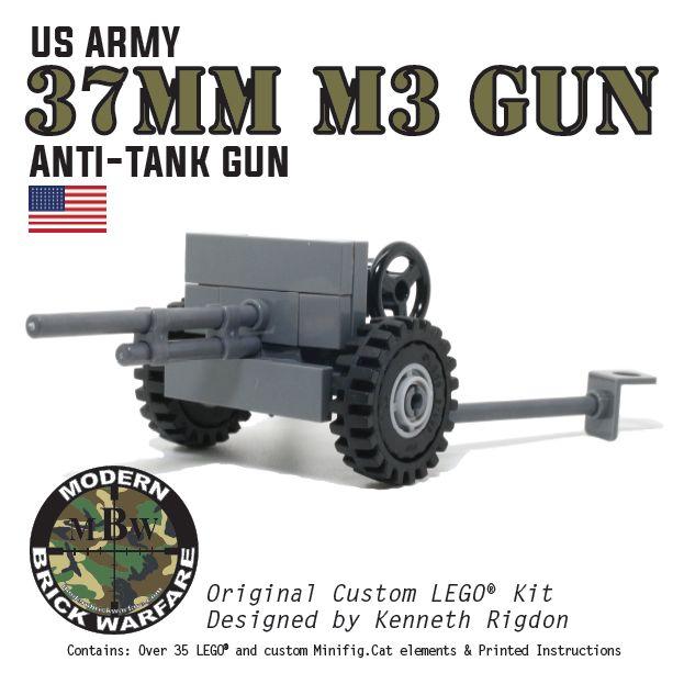 37mm M3 Anti-Tank Gun - Modern Brick Warfare Toys  #lego #WW2 #custom kits