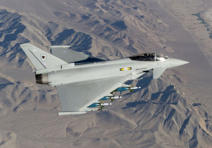 RAF No 11 Squadron Typhoon at Green Flag, USA. ZJ935: The Typhoon is loaded with enhanced paveway 2 bombs, litening 111 designater pod and drop tanks. No 11 Squadron has detached to Nellis Air Force base in the Nevada desert for this exercise in the US.