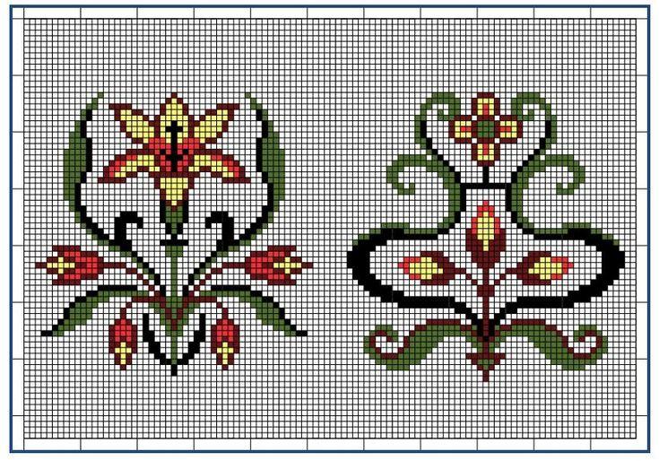 Moderne Stickerei-Vorlagen, Secession, Jugend-Styl, page 9. c. 1915. Art Nouveau cross-stitch, flowers.