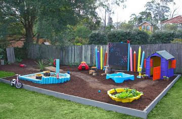 Loving the idea of painting up round fence posts to look like pencils in the kids' part of the yard, plus the outdoor blackboard