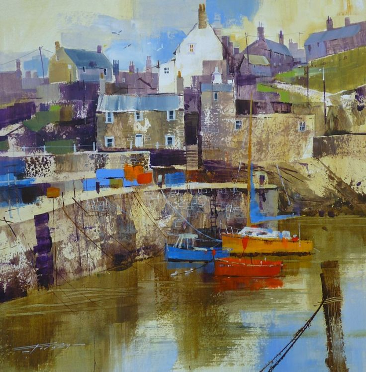 Bright Boats and Grey Buildings, Portsoy by Chris Forsey RI