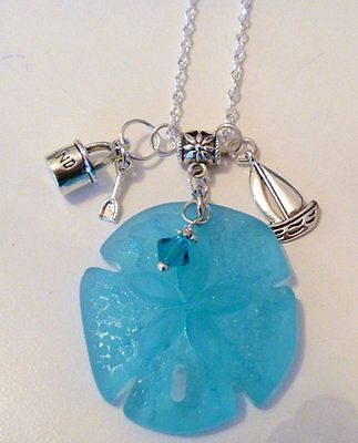 Large Blue Sea Glass Sand Dollar and Nautical Charms Necklace  | eBay