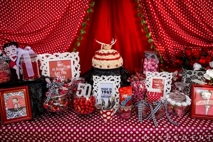 Red, Black and White themed garden birthday party sweets table