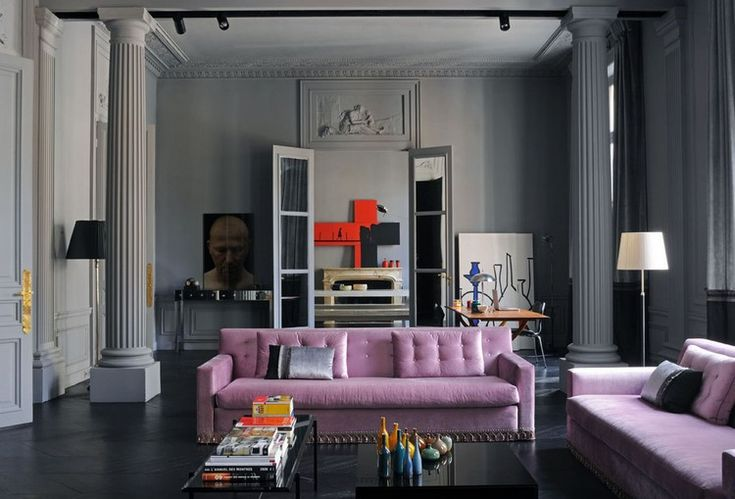 Home Inspiration Ideas - Paris luxury apartments - living room color ideas in lilac, tomato and dove gray hues #livingroomcolors #livingroomideas #modernsofas  / More at http://homeinspirationideas.net/room-inspiration-ideas/home-inspiration-ideas-12-show-stopping-luxury-paris-apartments