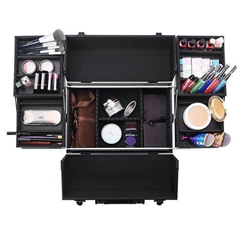 5641ff9a7186 Ovonni Professional Portable Makeup Train Case, Artist Lockable ...
