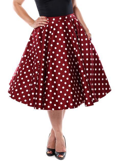 Wine Red Polka Dot Swing, Circle skirt by Lady Vintage www.misswindyshop.com  #skirt #polkadot #50s #vintagestyle