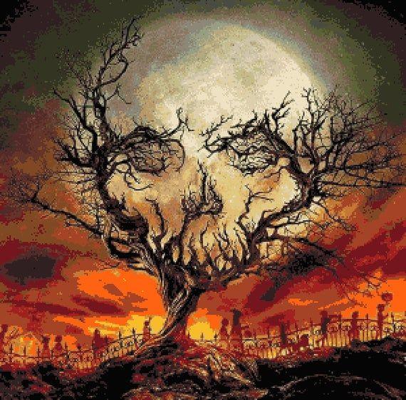 Halloween Moon Counted Cross Stitch Halloween Skull Inspired Etsy Halloween Moon Pixel Art Pattern Pixel Art