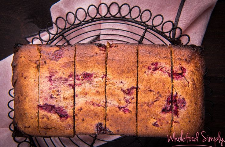 5 Ingredient Raspberry Bread. Simple, delicious and free from gluten, grains, dairy and refined sugar. Enjoy.