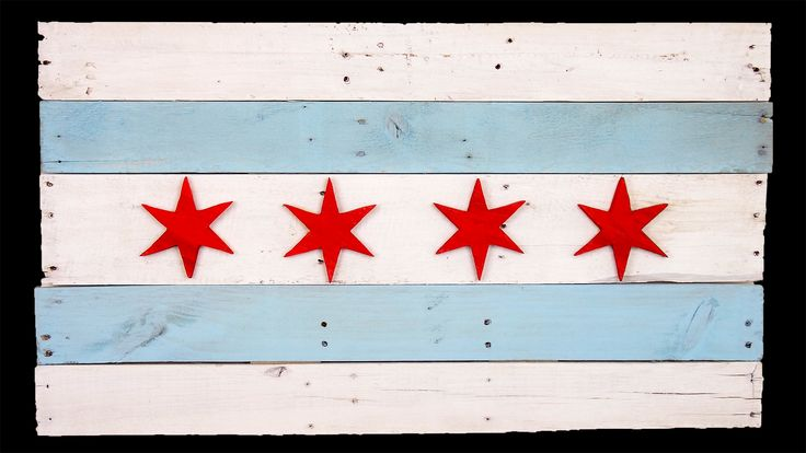 Chicago city flag - nice shabby chic artwork for our workout room?