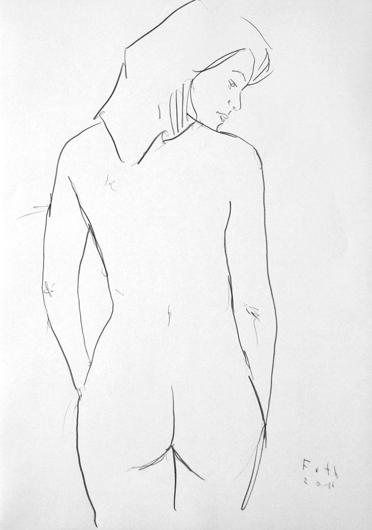 Nudistin, Oktober II / Kohle auf Papier / 100 x 70 cm / 2016 /  Detlev Foth /