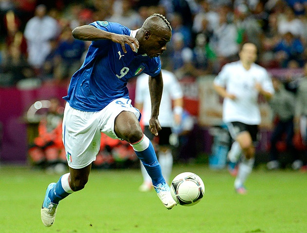 Germany v Italy: Balotelli - Ten minutes before half-time Balotelli bags his and Italy's second with a screamer. Montolivo is just inside his own half and sprays a diagonal down the centre for Balotelli who is 40 yards out. He chests the ball down, turns, and a delicate touch takes the ball towards the edge of the German penalty area...