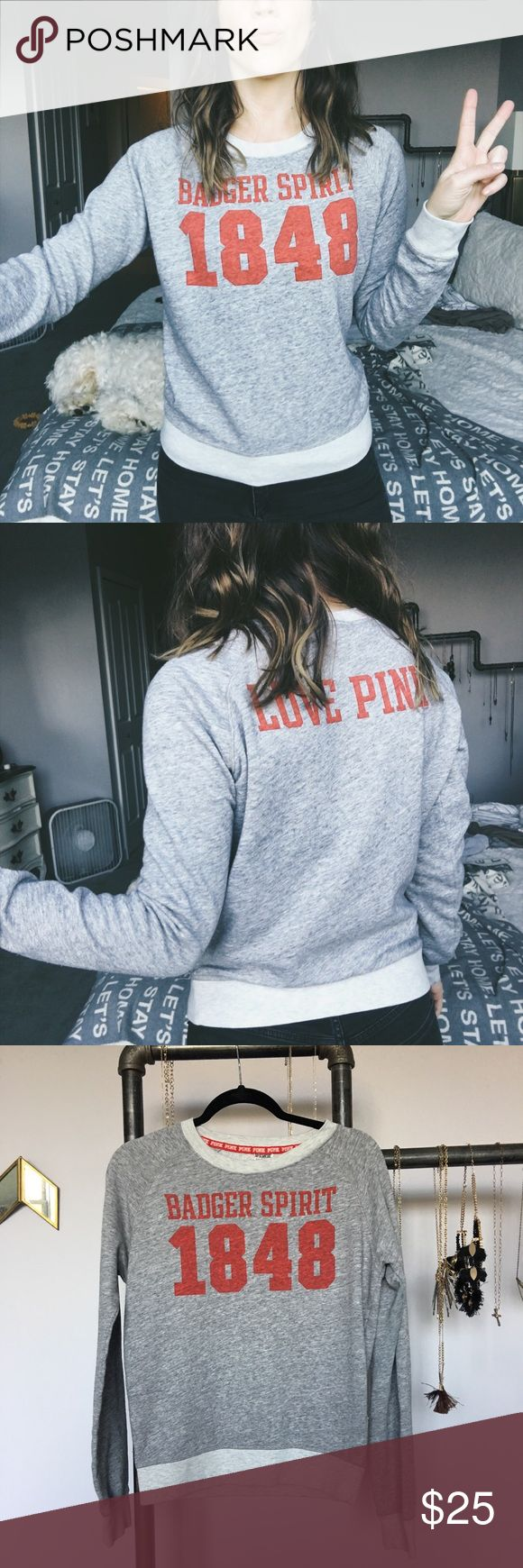"Victoria's Secret SweatShirt w/ Love Pink logo This sweatshirt is the perfect, lazy day top 😍 ""Badger Spirit"" on the front; ""LOVE PINK"" on the back. 60% cotton and 40% polyester ❤️ Some dotted stains on back, top right shoulder. Last picture depicts this 👌🏼 PINK Victoria's Secret Tops Sweatshirts & Hoodies"