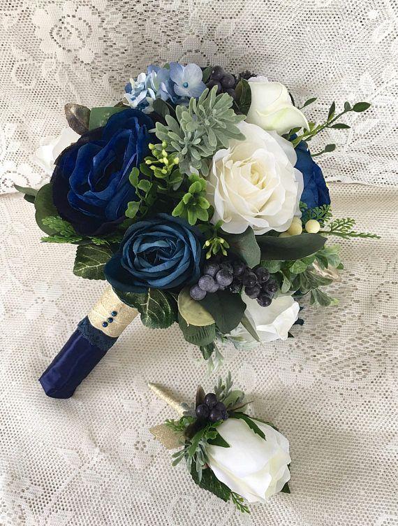 Wedding bouquetNavy blue wedding bouquetNavy Bridal bouquetSucculent bouquetNavy wedding flowersSilk wedding flowersBlue bouquet