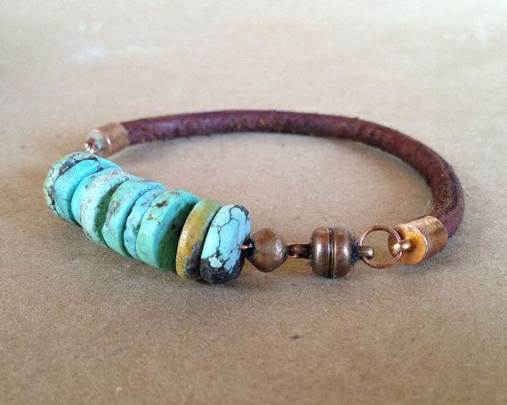 Turquoise Leather Copper Bracelet -