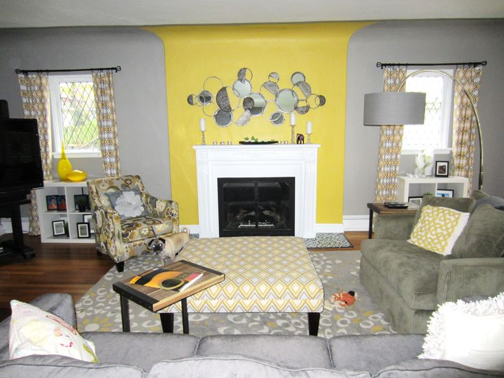 Yellow and grey living room beautiful interior design portfolio pinterest beautiful for Yellow and gray living room ideas