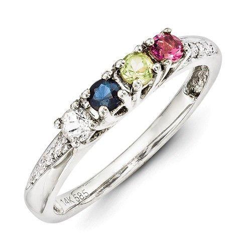 14k White Gold Genuine Birthstone Diamond Mother's Ring - 1 to 4 Stone – Sparkle & Jade