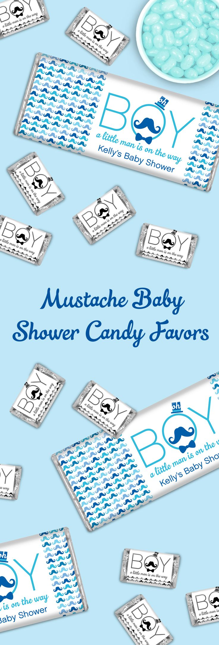 "Mustache Baby Shower Candy Buffet: Personalized candy bars for an ""Oh Boy"" or Little Man Shower - Don't forget blue Jelly Belly Jelly Beans too!"