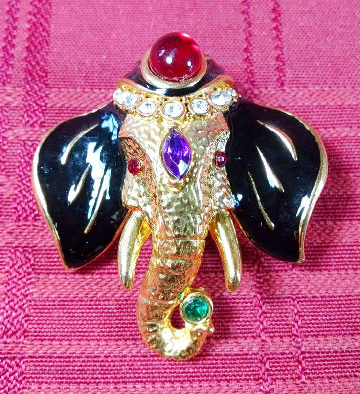 Vintage Black Enamel Bejeweled Elephant Face Pin Brooch Rhinestones Jewels EUC #Unbranded
