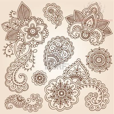ribbon lace drawings | Henna Flowers Paisley Pattern Tattoo Designs