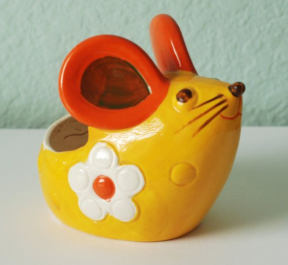 Groovy 1970s Yellow And Orange Ceramic Mouse Rats Mice Figures Toys Jewelry Ornaments