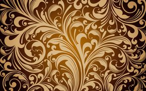 Обои floral, pattern, golden, texture, vintage, фон, цветочный
