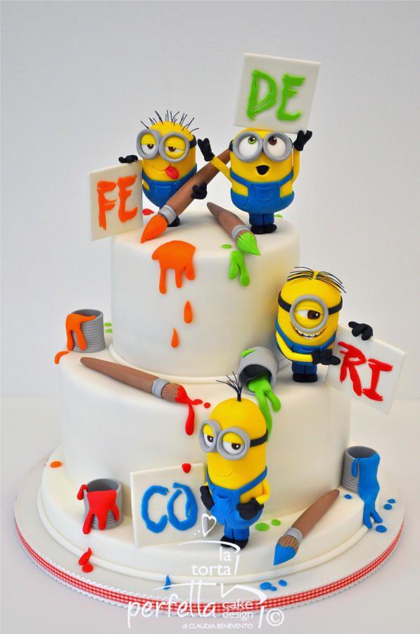 Original torta para fiesta de cumpleaños Minions. #tarta #Minions