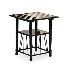 <sup>Y</sup> AESTHETIC MOVEMENT EBONISED GAMES TABLE, ATTRIBUTED TO EDWARD WILLIAM GODWIN CIRCA 1880 45cm square, 52cm high