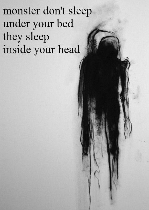 suicide, monster, depressed, sad, self harm