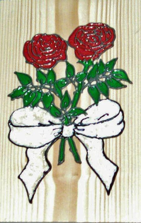 Bloemengroet op hout