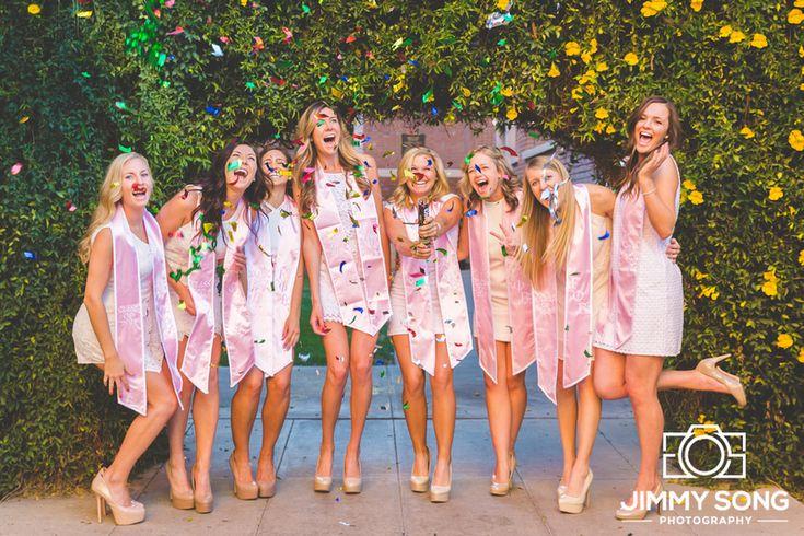 Instagram: @jimmysongphotography  University of Arizona Group Senior Picture. Poses with Beautiful Girls. Smile. Love. Tucson Arizona Sorority, Stole, Dress, Confetti