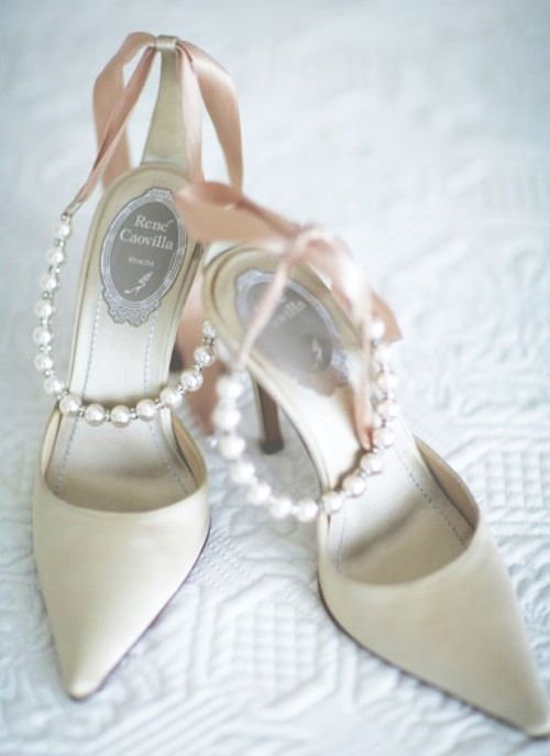 Rene Caovilla  ivory and pink satin shoes with pearl accents  <3