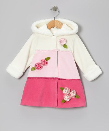 Take a look at this Pink Color Block Fleece Hooded Swing Coat - Infant, Toddler & Girls by Gerson & Gerson on #zulily today!