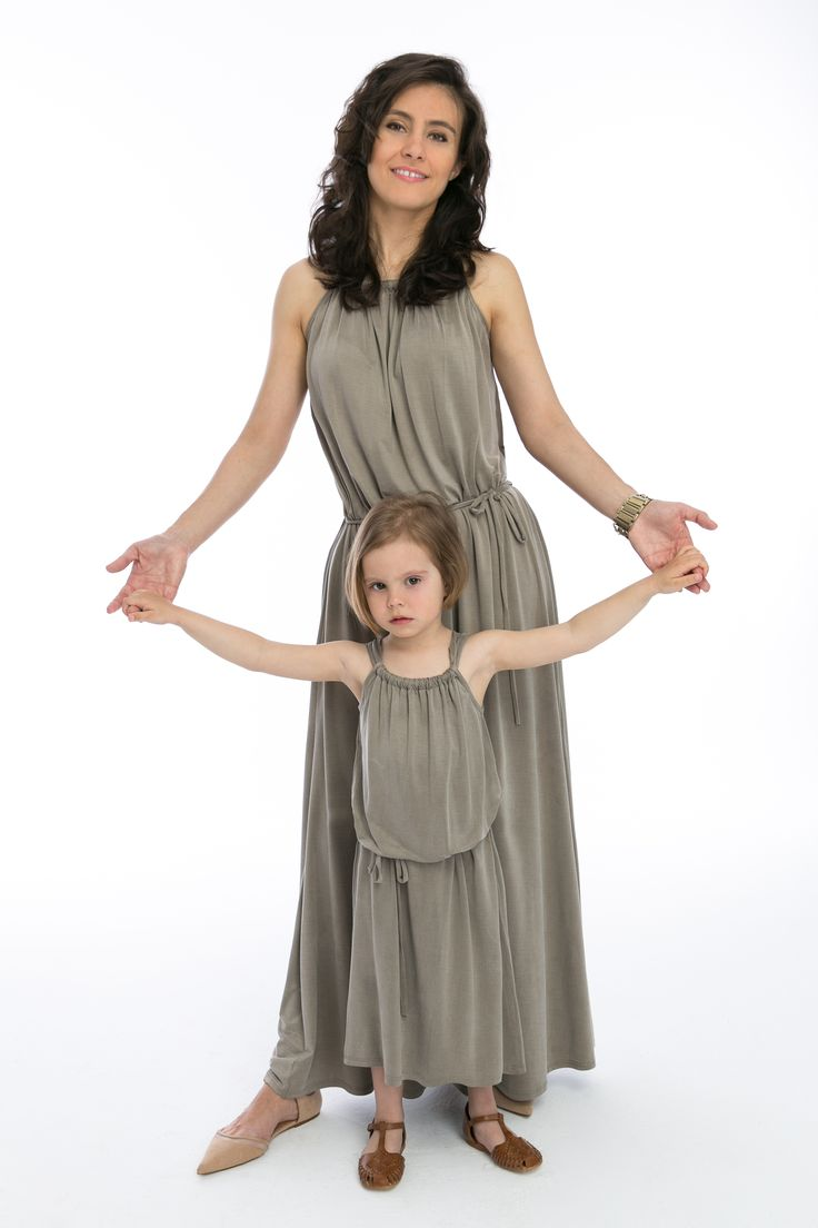 Mom and daughter in matching The Same spring 2015 beige maxi dresses made from viscoze cupro