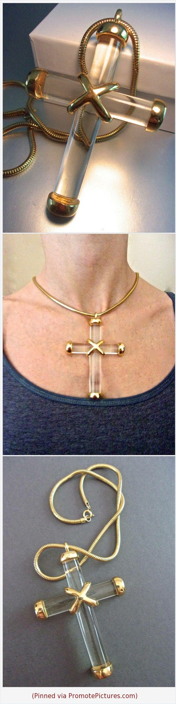 Clear Lucite Large Cross Pendant Necklace, Gold Trim, Snake Chain, Vintage #cross #necklace #pendant #snakechain #Lucite #clear #large #runway #goldtrim #vintage #modernist https://www.etsy.com/RenaissanceFair/listing/597901671/clear-lucite-large-cross-pendant?ref=listings_manager_grid  (Pinned using https://PromotePictures.com)