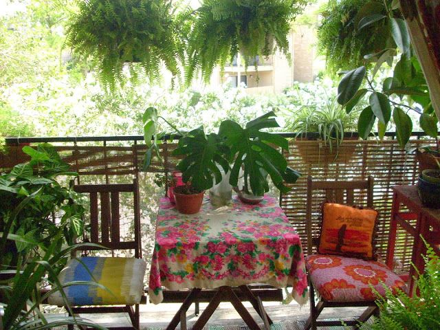 Small apartment patios can be lush and decorative.