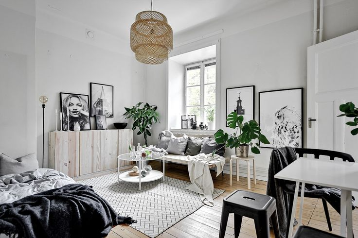 Scandinavian studio apartment, love this style. Are you looking for unique and beautiful art photo prints (not the featured here)  to curate your gallery walls? Visit bx3foto.etsy.com and follow us on Instagram @bx3foto