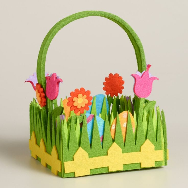 Osterkörbchen basteln mit Kindern - Idee aus Filz