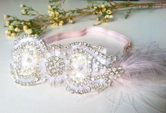 Flapper Art Nouveau -1920s Crystal Rhinestone Pearl and Lace Headband-Daisy Buchanan-Winter Princess-Wedding Bohemian Bride Great Gatsby
