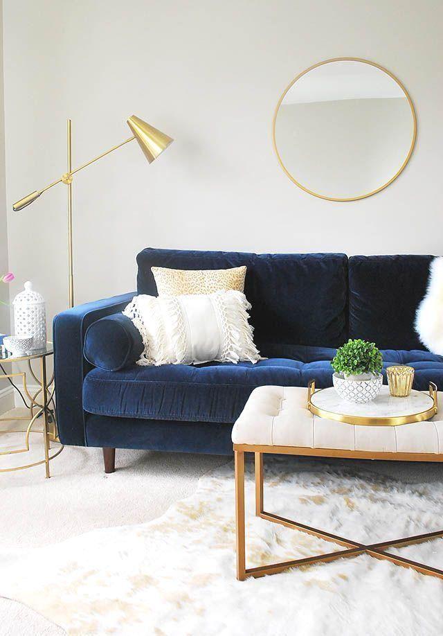 Unser Neuer Loftbereich Mit Möbeln Von Article Com Blue Couch Living Room Gold Living Room Blue Sofas Living Room