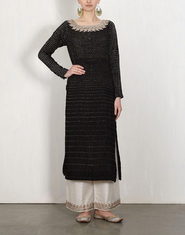 Black Bandhini Kurta With Embroidered Pants-Lajjoo C